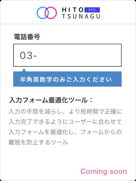 HITOTSUNAGU EFO   入力の手間を減らし、より短時間で正確に入力完了できるようにユーザーに合わせて入力フォームを最適化し、フォームからの離脱を防止するツール